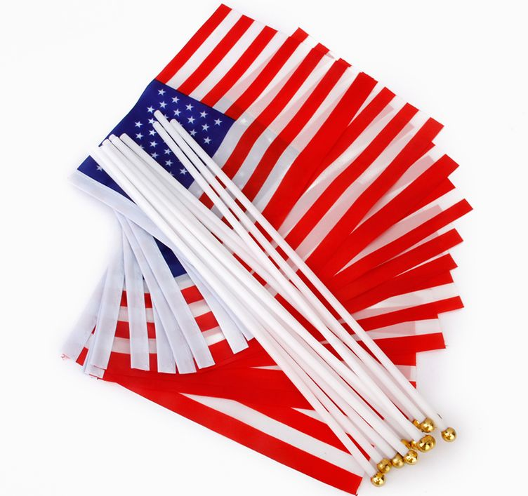 Samll Size Hand American Flag With Plastic Pole
