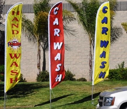 Printed Polyester Car Wash Swooper Flags For Advertising