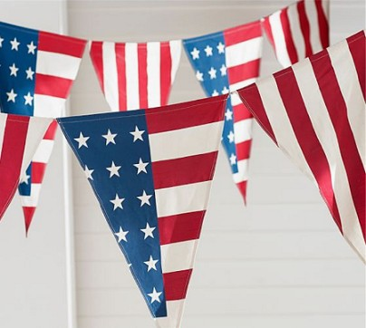 OEM Printing Fan American Bunting Flag For Decoration
