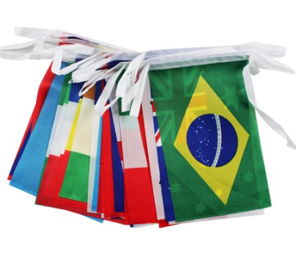 Custom Polyester Hanging World National Bunting String Flags